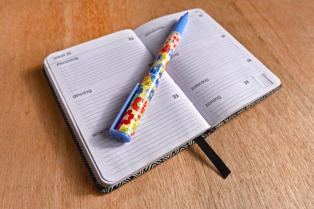 ボールペンとスケジュール帳